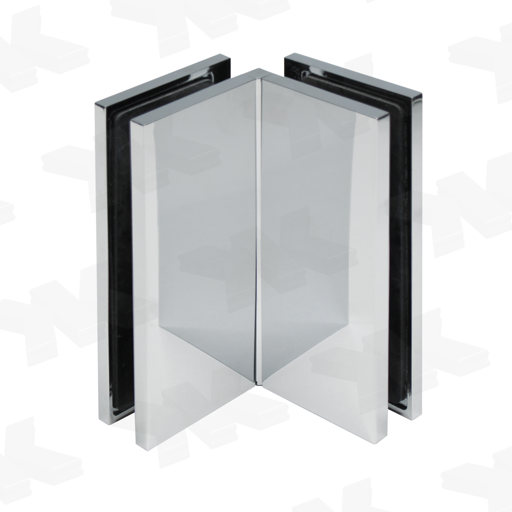 Corner connector glass-glass 90°, with cover