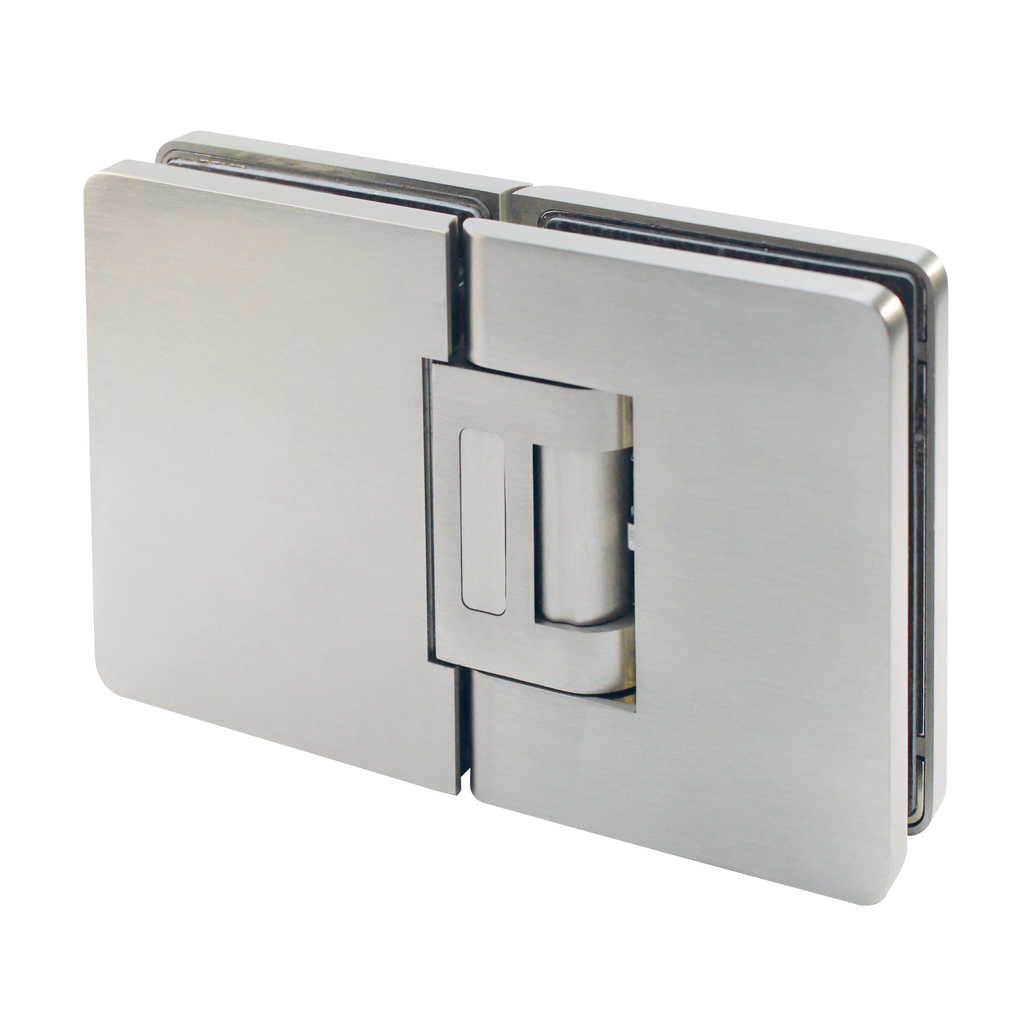 Hydraulic hinge for swing door, glass-glass with cover