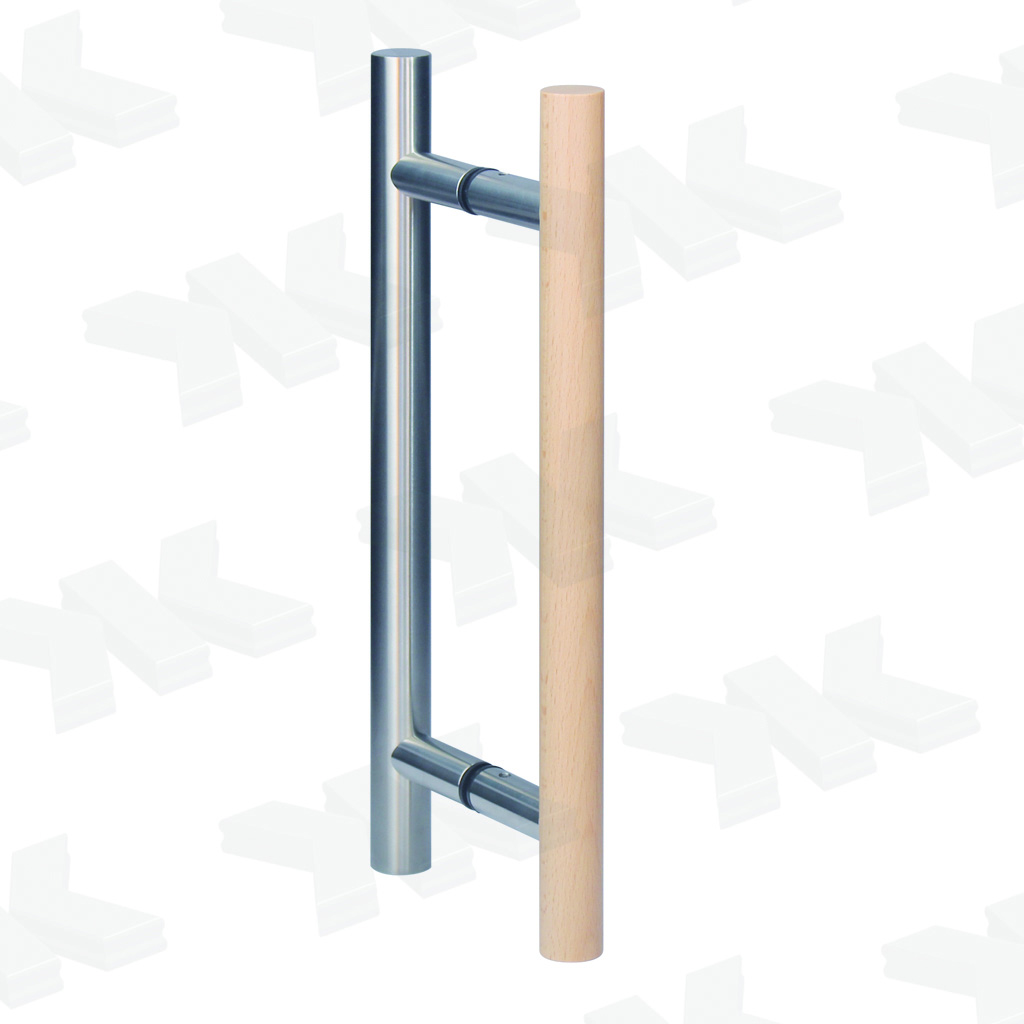 Straight pull handle, one-sided wood, Ø 25 mm, stainless steel AISI 304