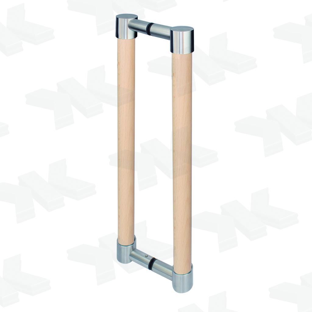 Straight pull handle, double-sided wood, Ø 30 mm, stainless steel AISI 304
