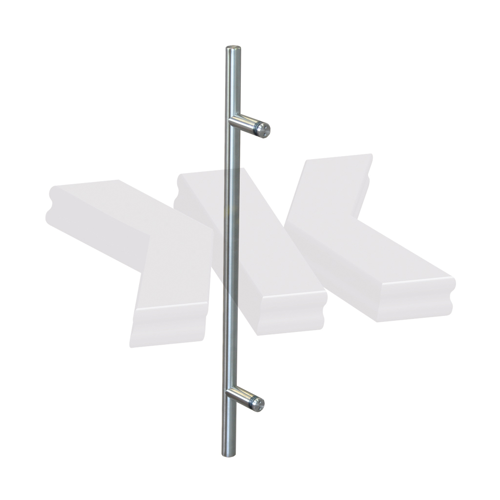 Straight single-sided pull handle, Ø 20 mm, stainless steel AISI 304