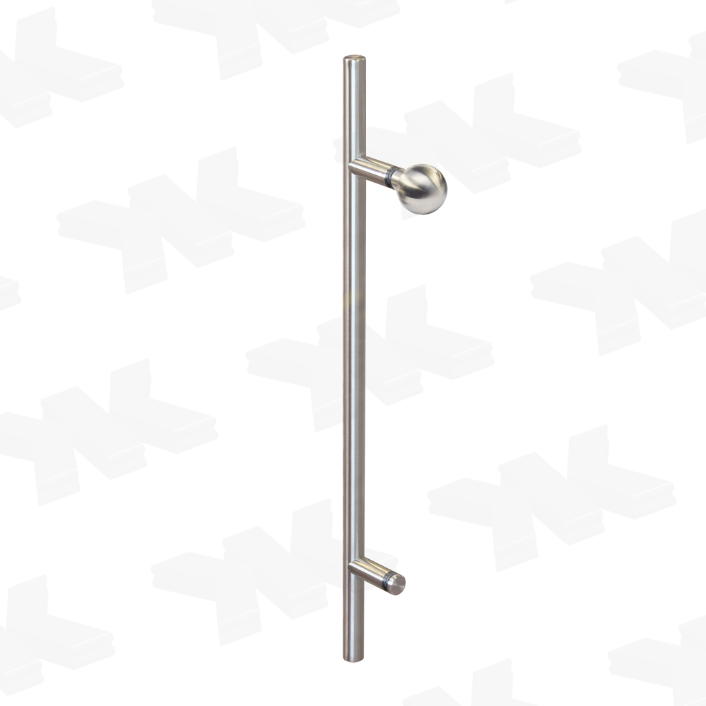 Straight single-sided pull handle with ball, Ø 25 mm, stainless steel AISI 304