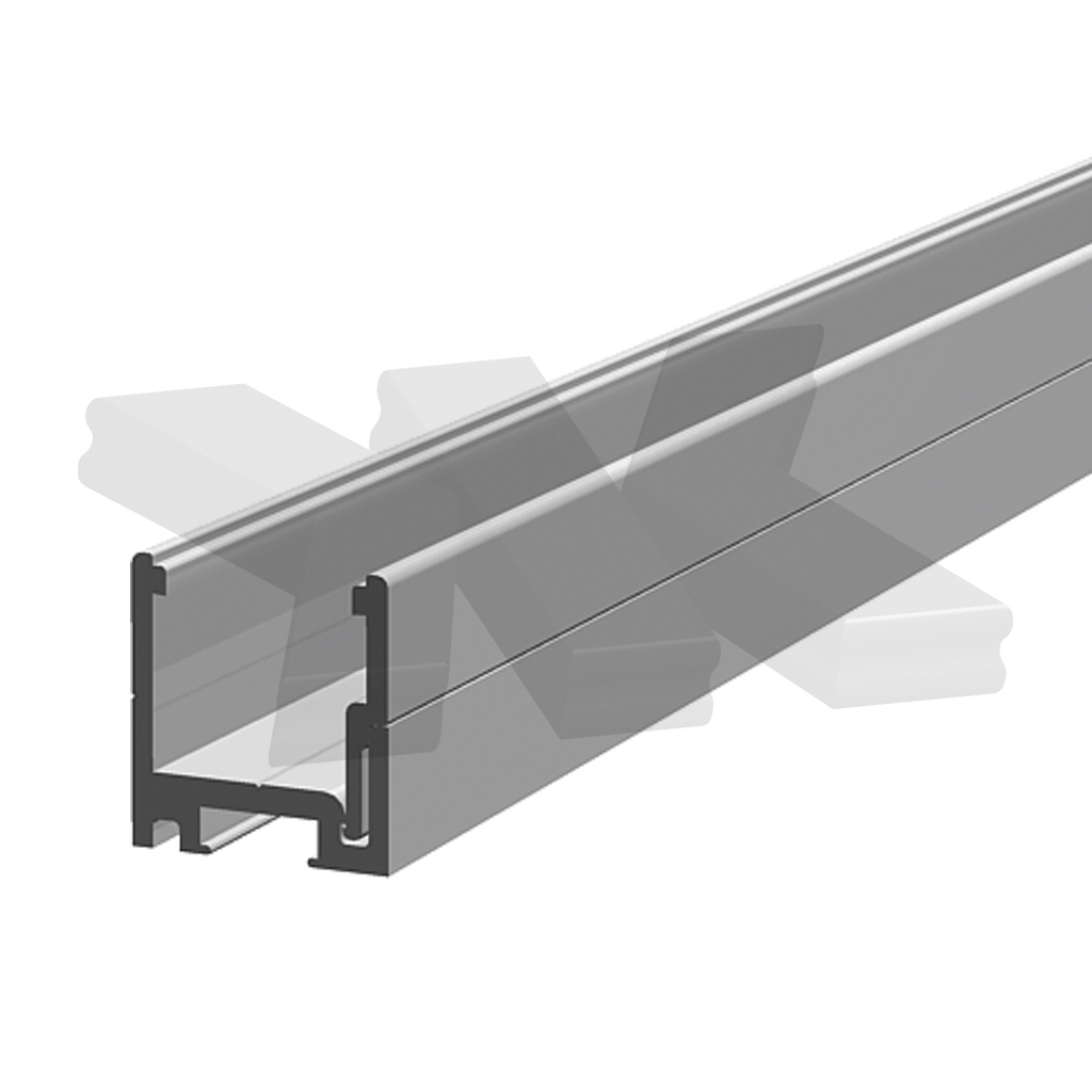 Dry glazing clip profile and clip on strip 25x24x25 mm, stainless steel effect
