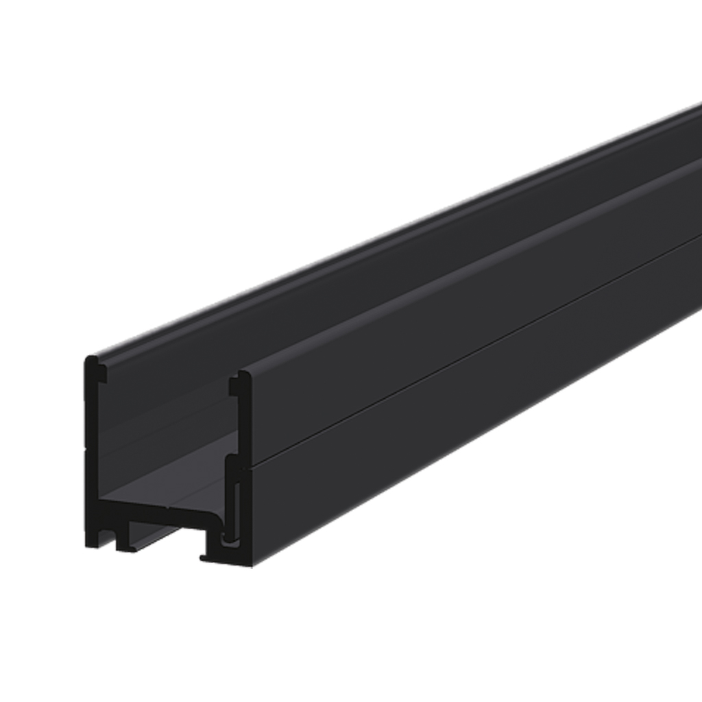 Dry glazing clip profile and clip on strip 25x24x25 mm, black anodized
