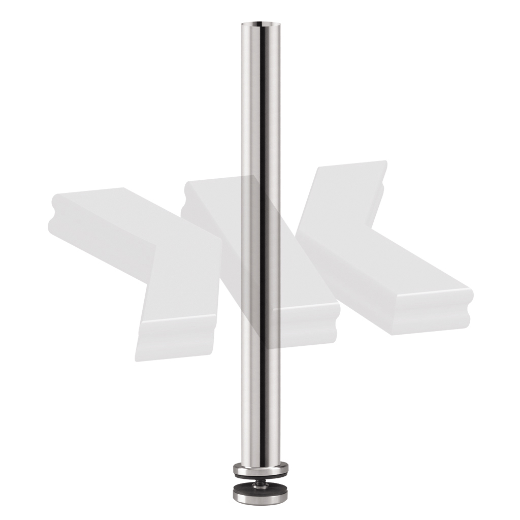Baluster post model 02, Ø 42,4 mm, for mounting on glass or wood