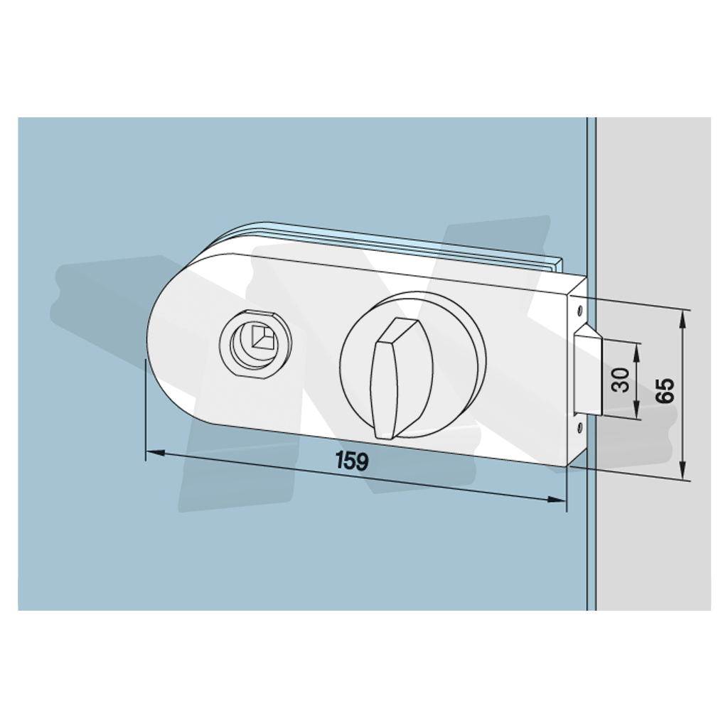 Lock round, WC, toilet door, WITHOUT lever