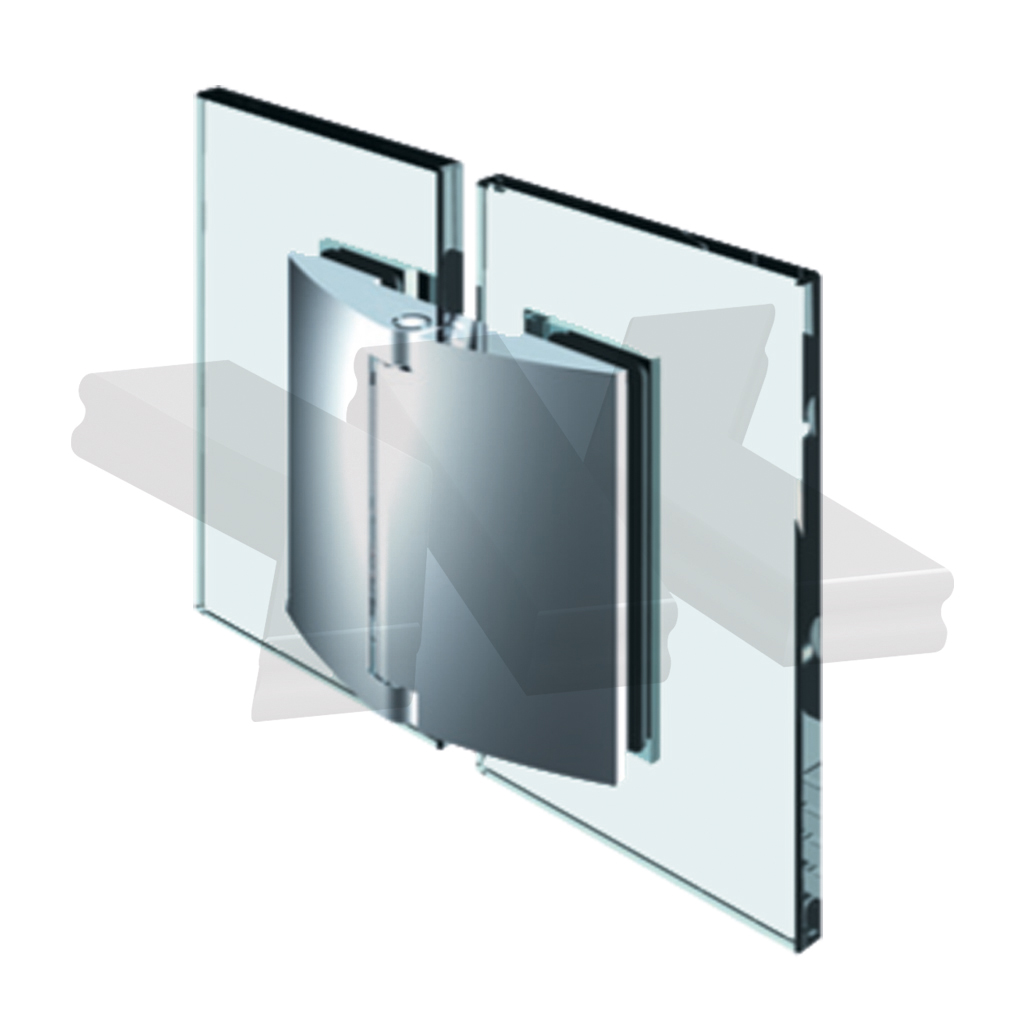 Shower door hinge Papillon, glass-glass 180°, opening outward