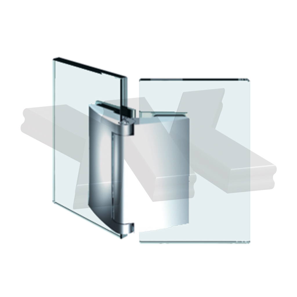 Shower door hinge Papillon, glass-glass 135°, opening outward