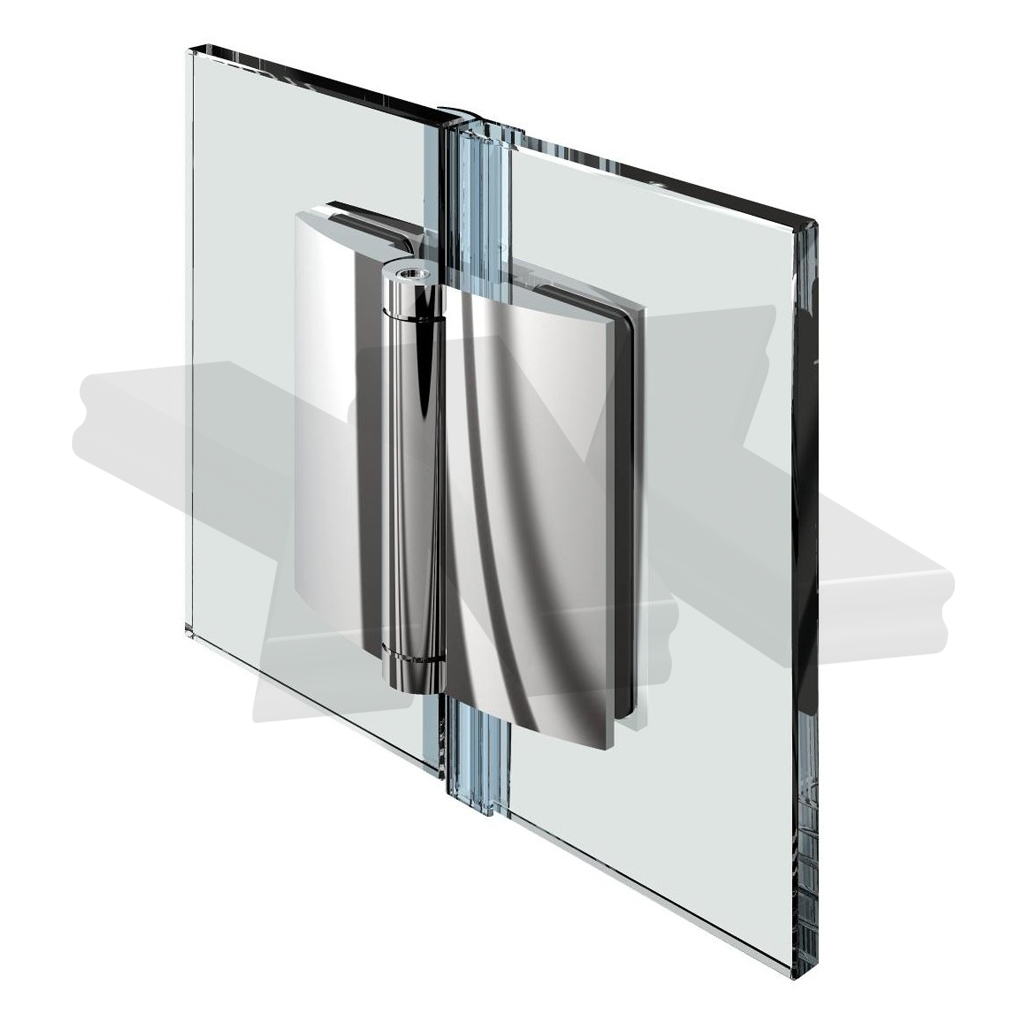 Shower door hinge Farfalla, glass-glass 180°, opening outward