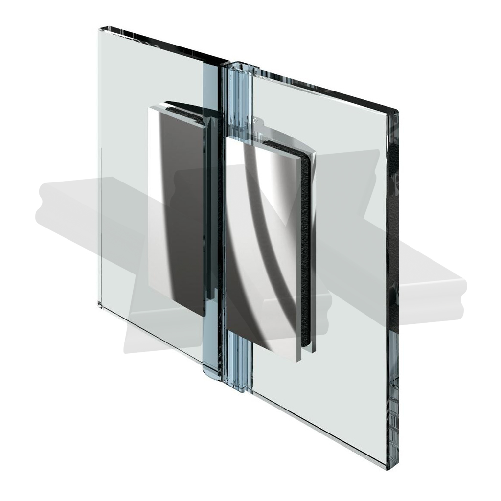 Shower door hinge Farfalla, glass-glass 180°, opening inward