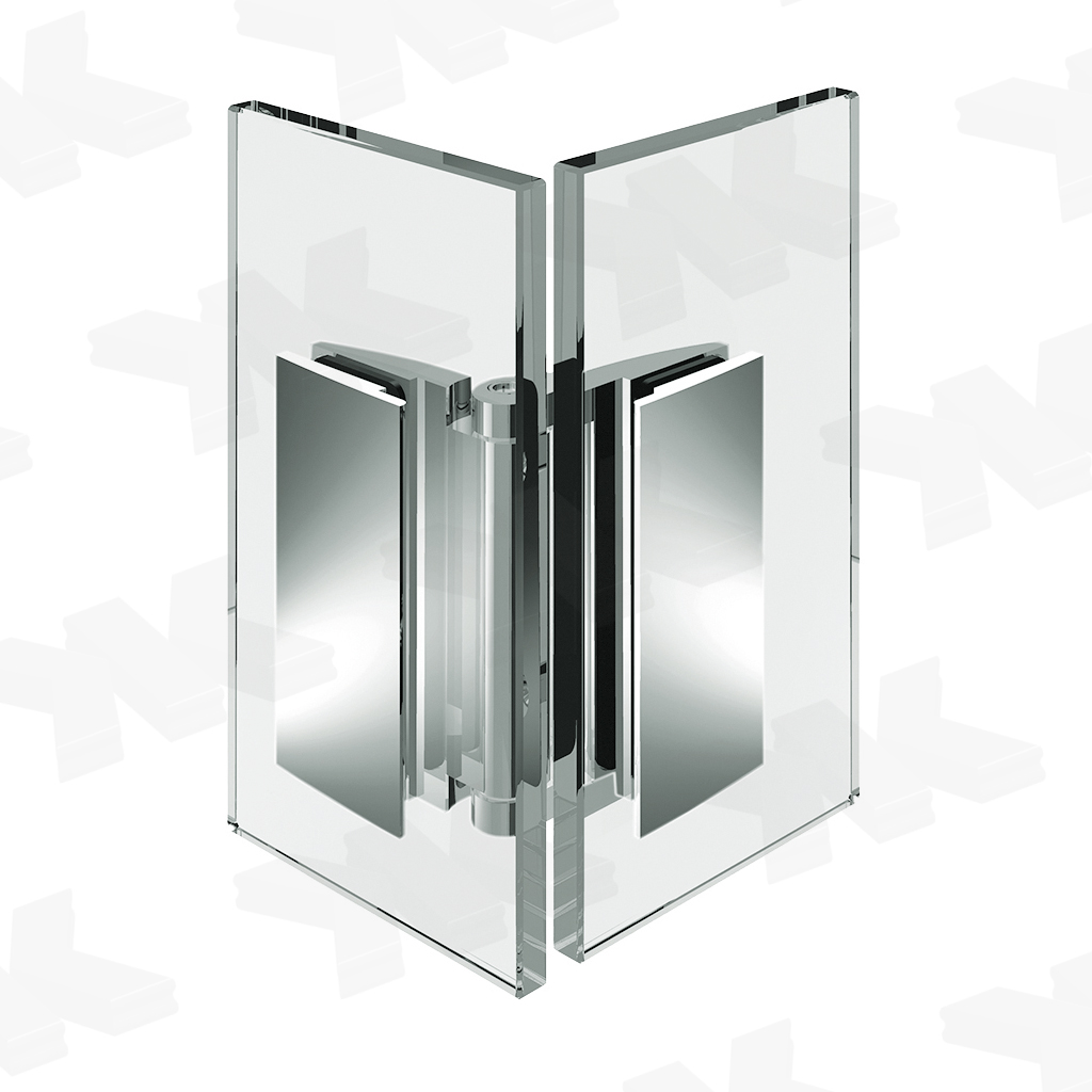 Shower door hinge Farfalla, glass-glass 90°, opening inward