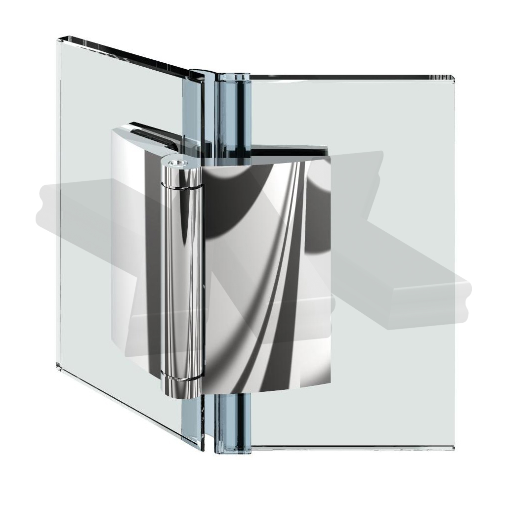 Shower door hinge Farfalla, glass-glass 135°, opening outward