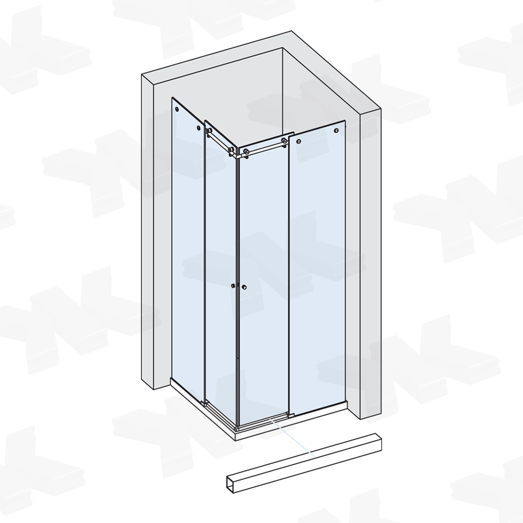Corner shower for shower tray 800 x 800 mm or 900 x 900 mm