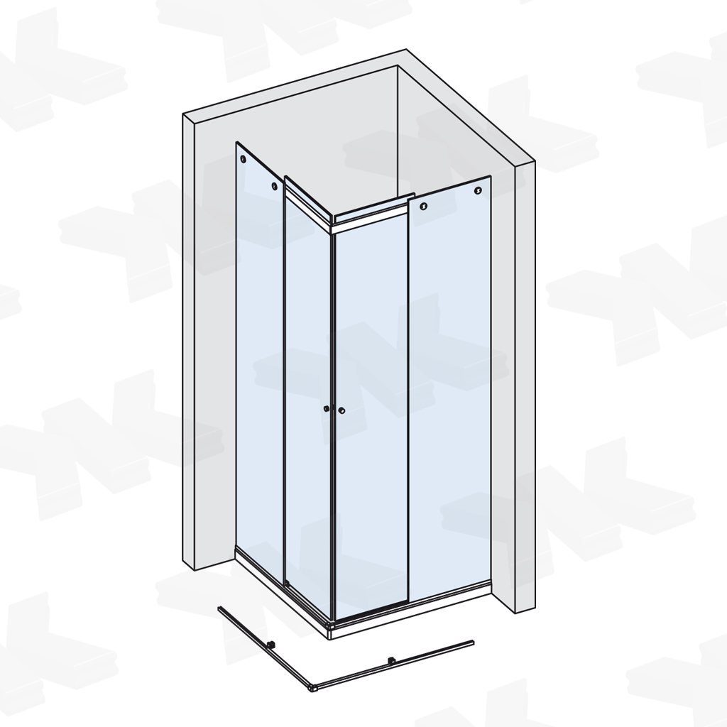 Corner shower for shower tray up to 1000 x 1000 mm