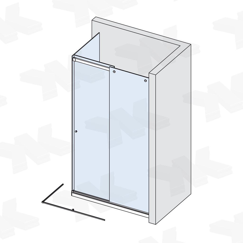 Corner shower with two fixed parts, track length 3000 mm